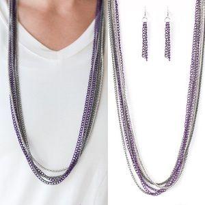 Purple Chain Link Necklace Set